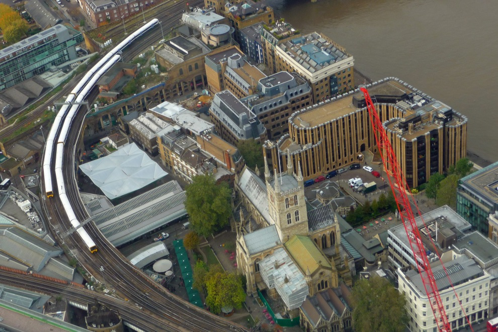 Trains on London's Railways as viewed from The Shard