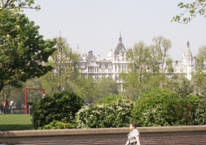 Looking Across to the Embankment from the South Bank, London