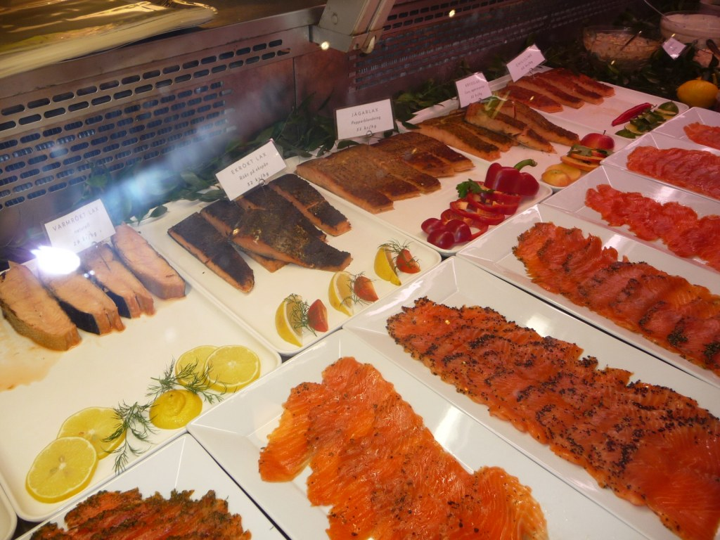 Counter displaying salmon