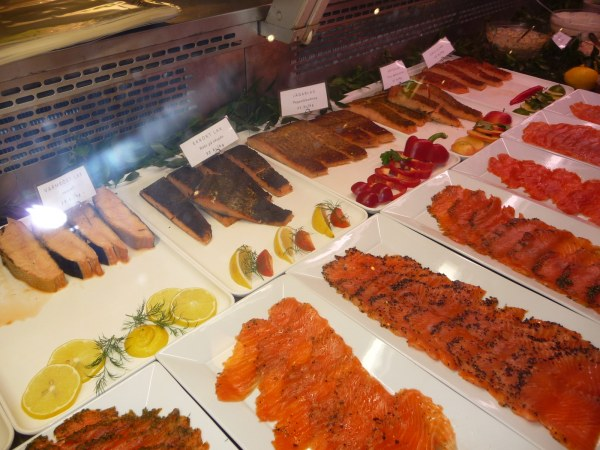 Counter displaying salmon