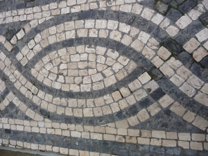 Swirley black and white marble mosaic pavements