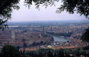 Verona from the hills outside the city.