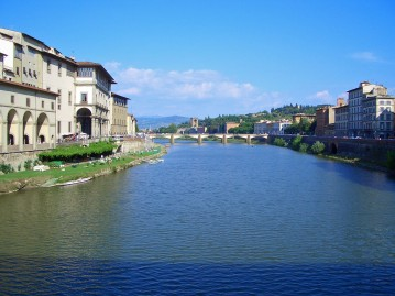 The River Arno in Florence with the Tuscan Hills as Backdrop