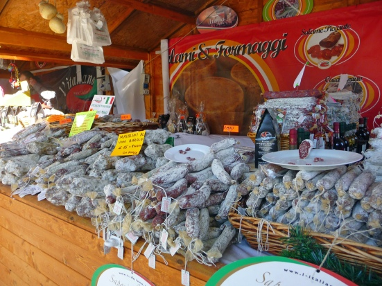 Mouthwatering selection of salamis at Milan's open market