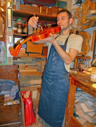 Luthier Stefano Conio of Cremona, demonstrates his craftmanship.