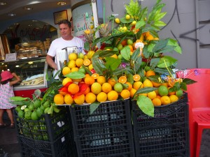 Freshly squeezed juices at every corner in Palermo, Sicily