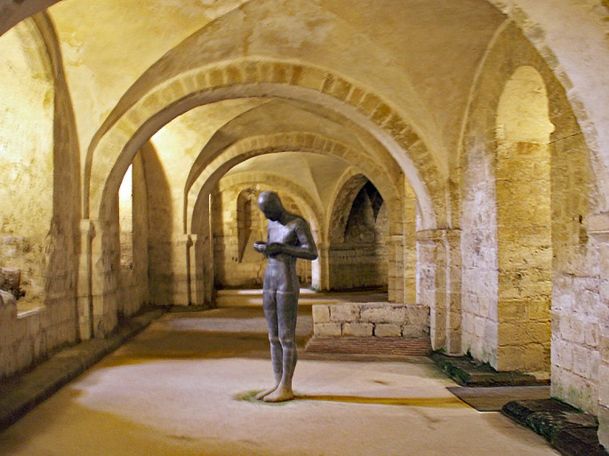 One of the Anthony Gormley Statues in the Crypt of Winchester Cathedral