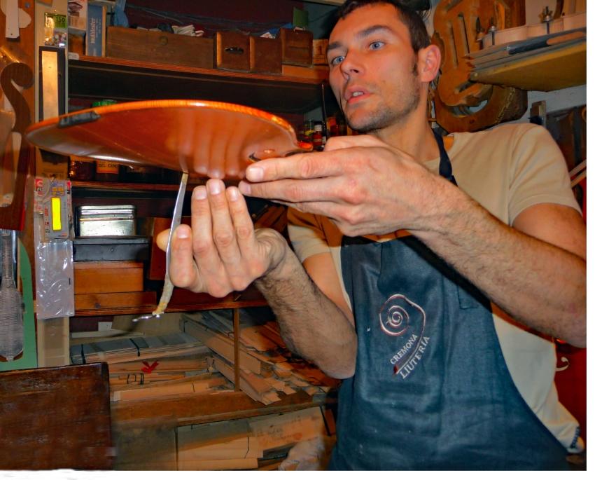 Stefano demonstrates his method of violin making