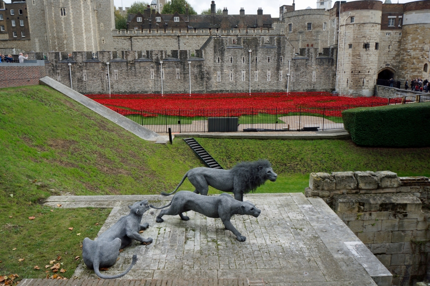 Tower of London with stone Animals