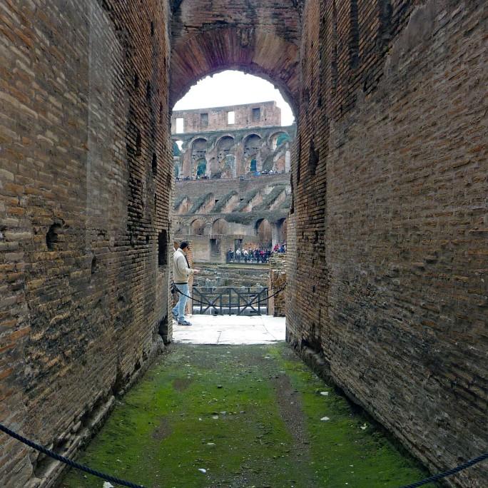 View through entrance arch