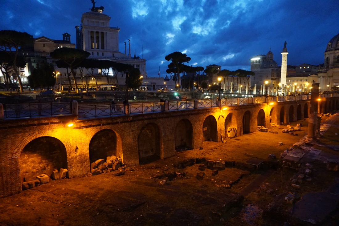Rome: View of the Forum at Night