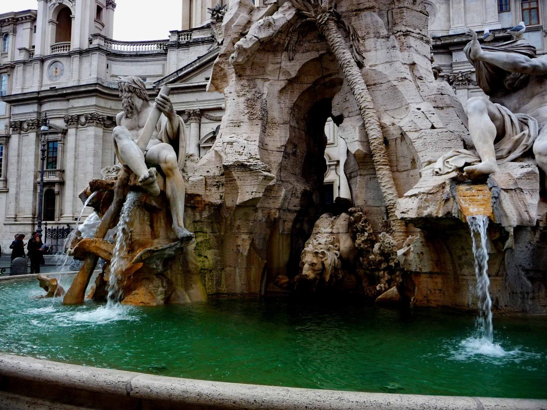 Part of Bernini's Magnificent 4-Rivers Fountain in Piazza Navona, Rome