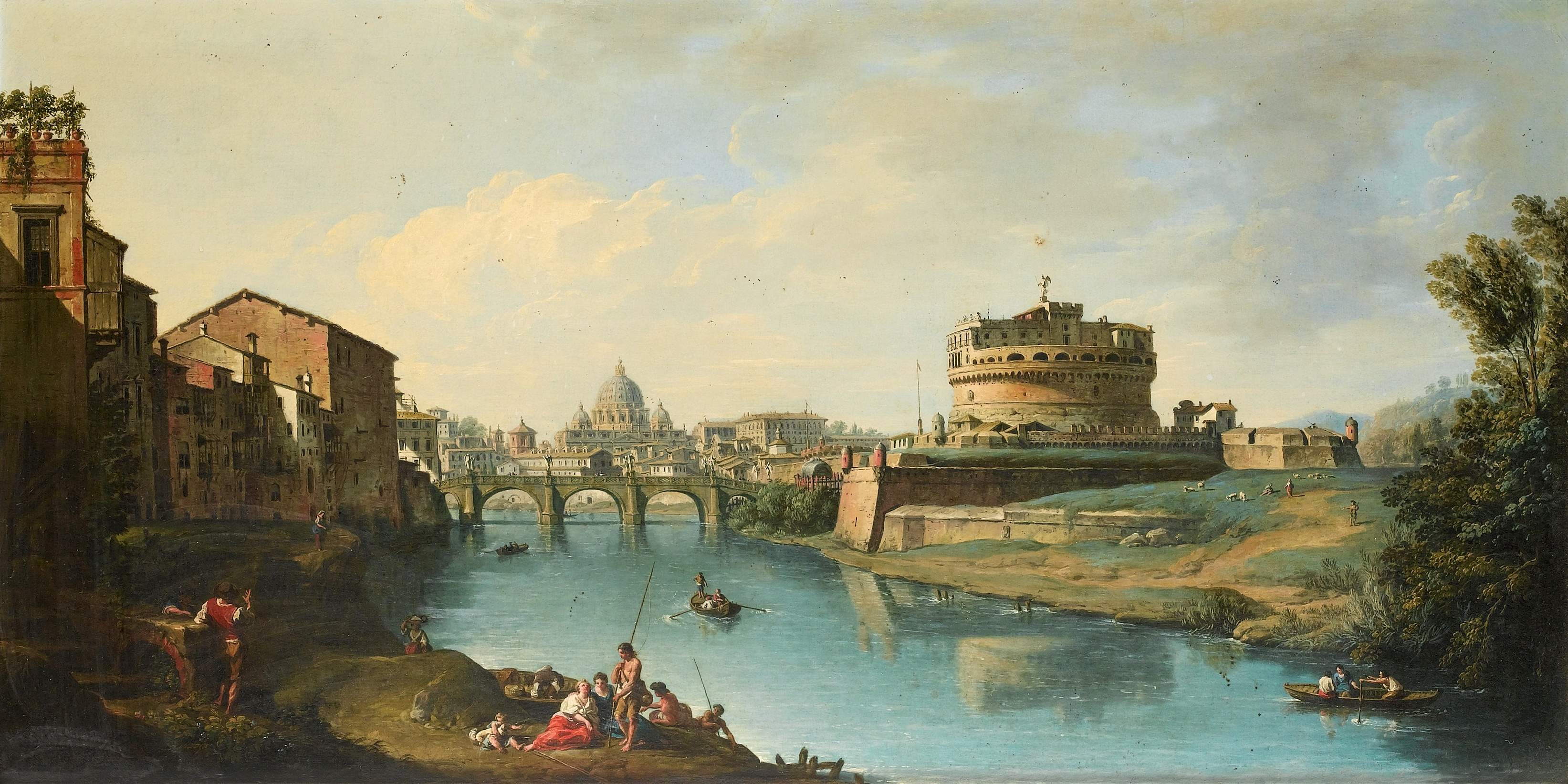 View_of_the_Tiber_Looking_Towards_the_Castel_Sant'Angelo,_with_Saint_Peter's_in_the_Distance