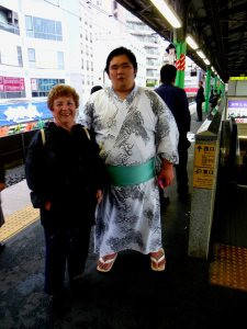 The writer with Sumo Wrestler in Subway