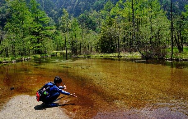 Japanese boy at Tsaio Pond