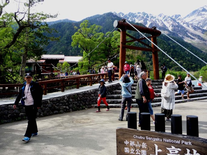 Tourists at Kappa Bridge, Chubu Sangaku National Park, Kamikochi