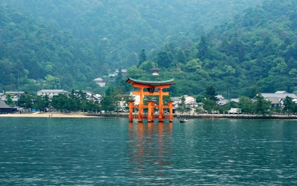 Floating Torii Gate from the Ferry Boat
