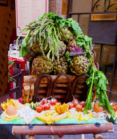 Outside one of Rome's Artichoke Restaurants. A nice display of the offerings to be had inside - Mari Nicholson