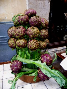 The Purple King of Vegetables for the Romans. A restaurant display - Mari Nicholson