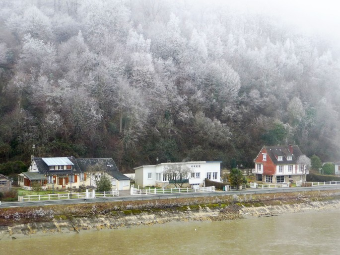 Frosted trees above towpath houses on Seine