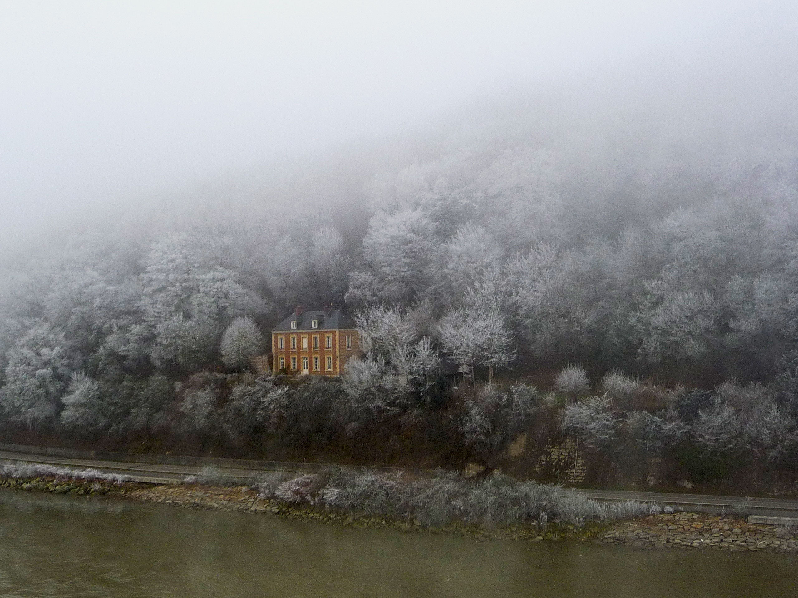 In-the-midst-of-the-frosty-trees,-a-lone-mansion.