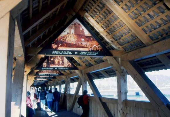 Lucerne's-famous-Painted-Bridge-with-Biblical-scenes