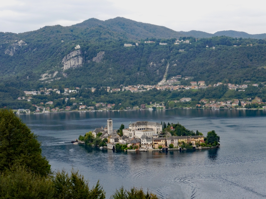 View of San Giulio island from hill - photo Solange Hando