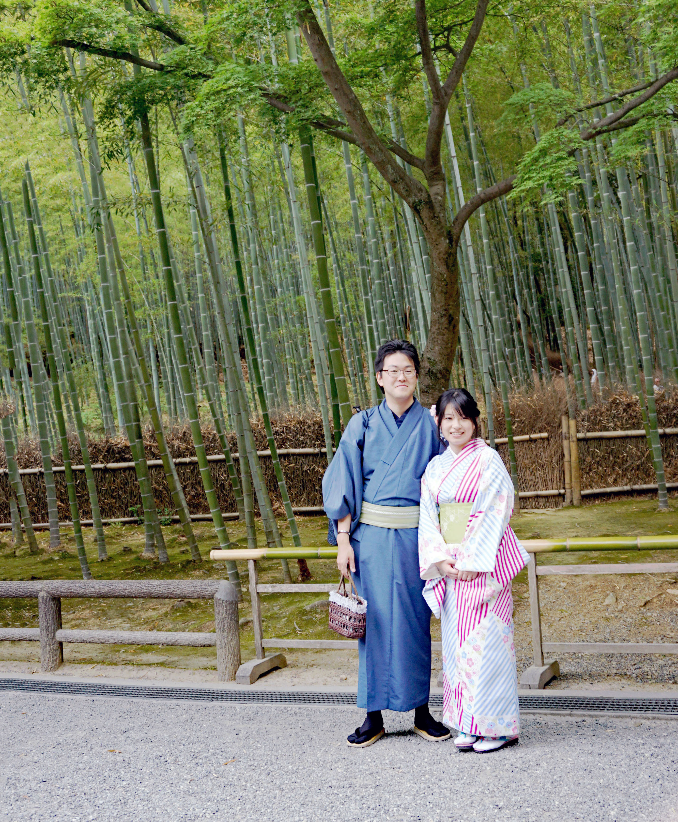 Kimona Clad Locals sightseeing in Bamboo Forest