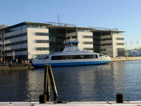 One of the sleek ferryboats that criss-crosses the river in Gothenburg