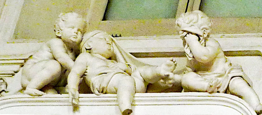 Above Lepanto scene - one cherub foot missing, one crying, one supporting