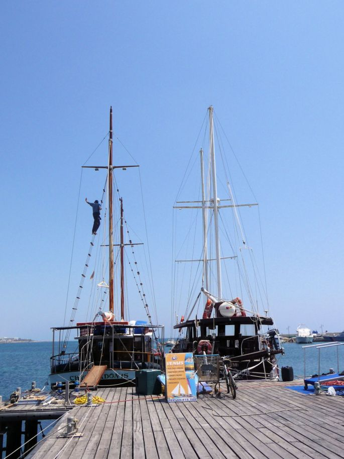 Climbing the Rigging in Paphos Harbour