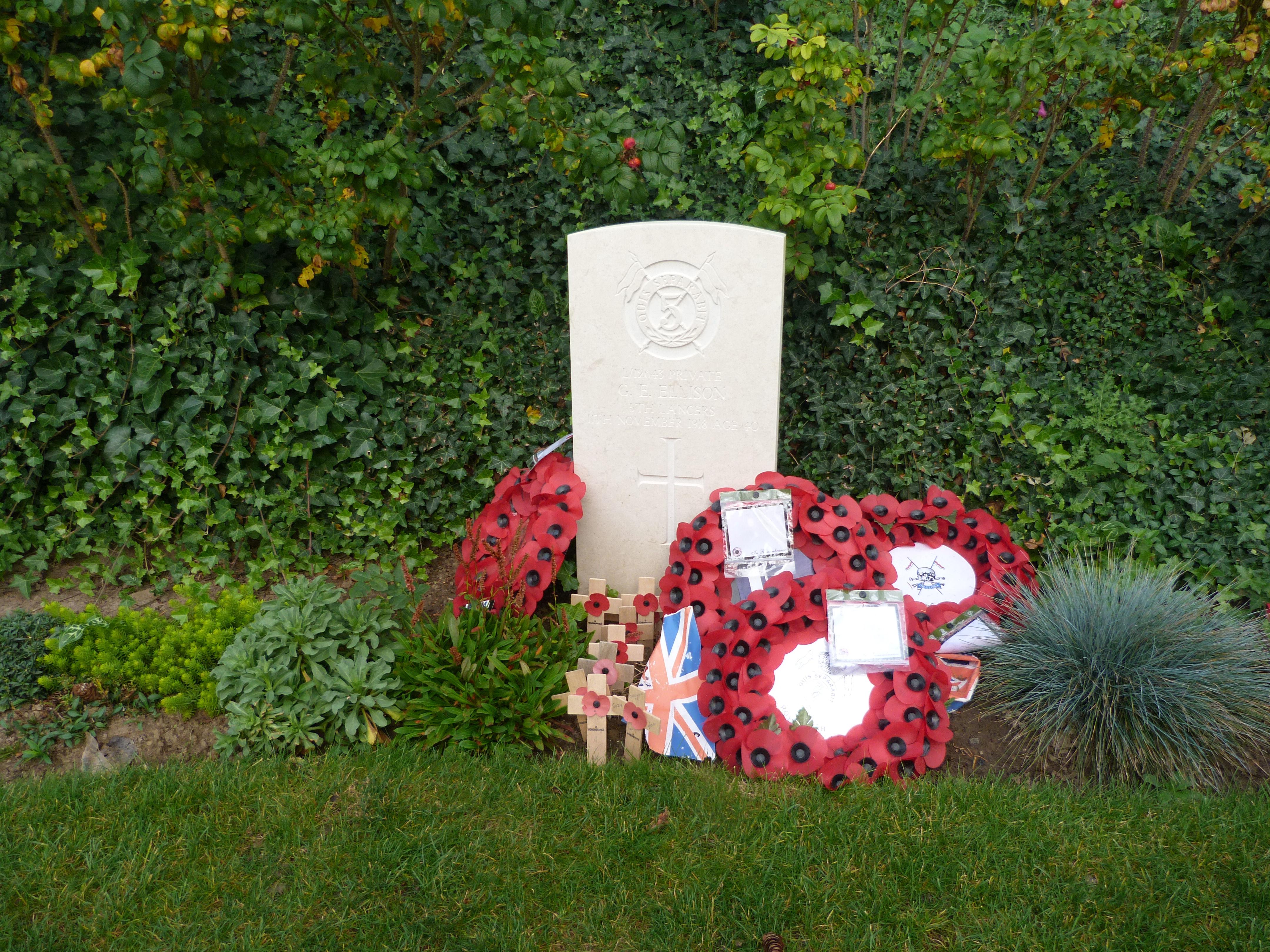 Headstone for G.E. Ellison, last man to die in WW1