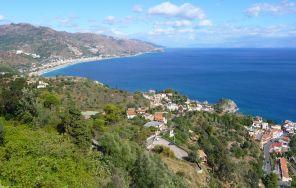 Looking along he Coast, Taormina on left