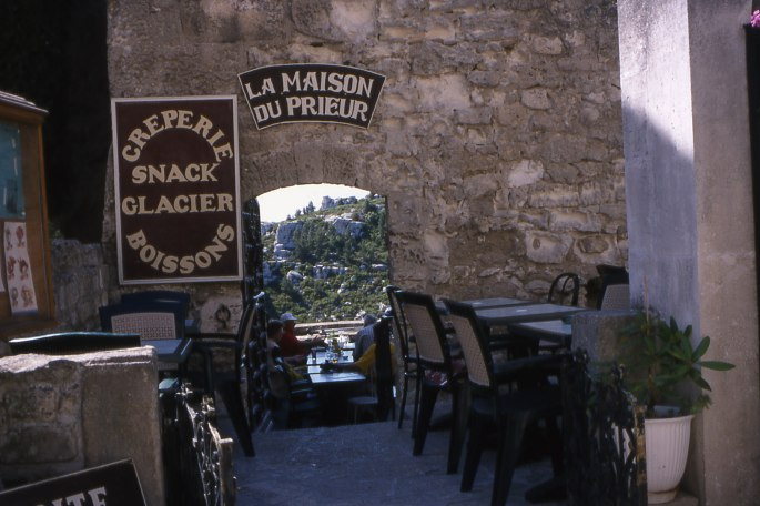 Terrace cafe in Le Baux (sheer drop other side)